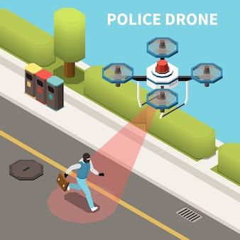 Composición isométrica de drones quadrocopters con vista exterior del avión no tripulado de la policía en busca del personaje criminal