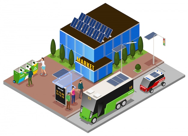 Composición isométrica de ecología urbana inteligente con la construcción de baterías solares y contenedores de basura con tope eléctrico omnibus