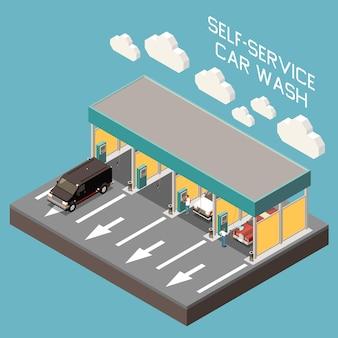 Composición isométrica del edificio de autoservicio de lavado de autos en azul