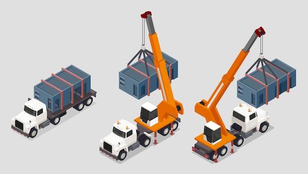 Composición isométrica del edificio de estructura modular con un conjunto de camiones con grúas de pilar y carga de tanques de caja