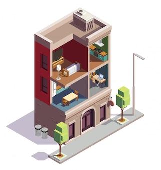 Composición isométrica de edificios adosados con vista de perfil de vivienda urbana con habitaciones y muebles separados