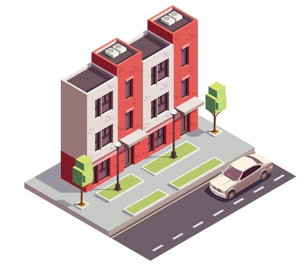 Composición isométrica de edificios de casas adosadas con vista de la acera de la autopista de la calle de la ciudad y casa residencial de tres pisos