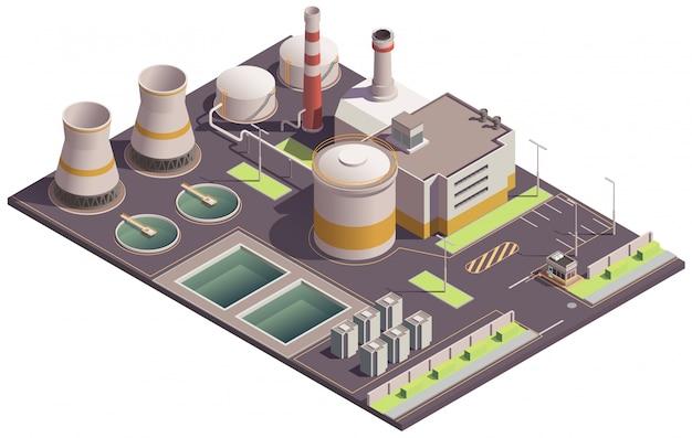 Composición isométrica de edificios industriales con hito en el sitio de la planta e instalaciones de fábrica con piscinas y estacionamiento