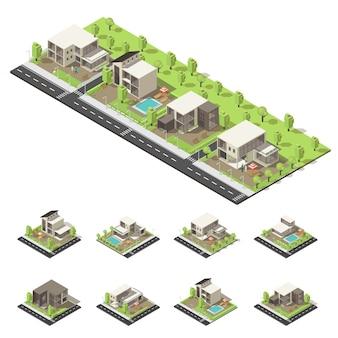 Composición isométrica de edificios suburbanos