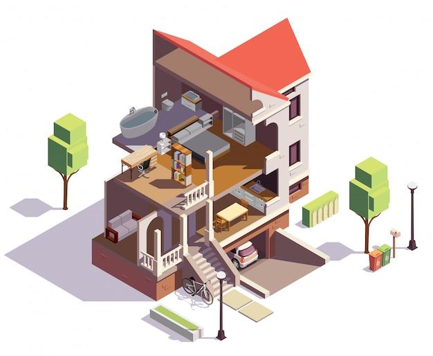 Composición isométrica de los edificios de los suburbios con vista de perfil del edificio residencial de la villa con una visión general de las salas de estar