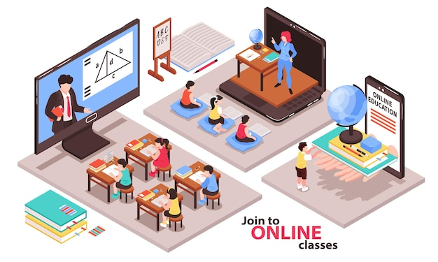 Composición isométrica de educación en el hogar con ilustración aislada de símbolos de clases en línea