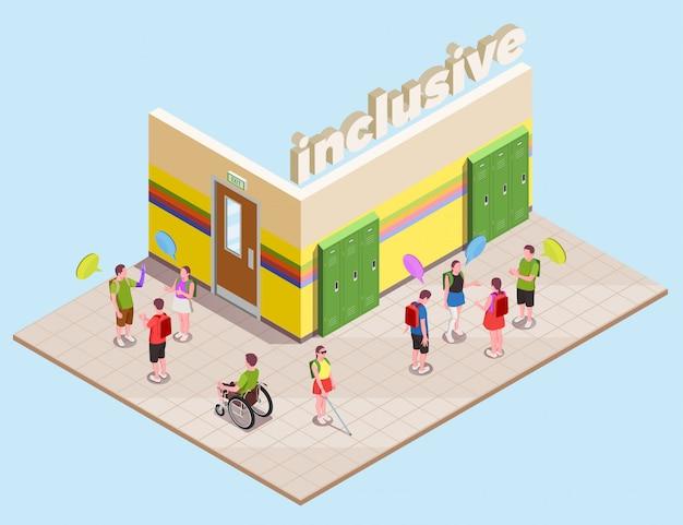 Composición isométrica de educación inclusiva con personas con discapacidad en el hall de la escuela 3d
