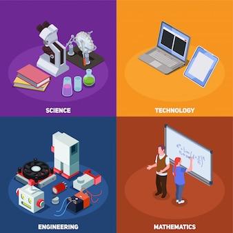 Composición isométrica de educación stem con composiciones de libros, computadoras, elementos de equipo científico y personajes humanos.
