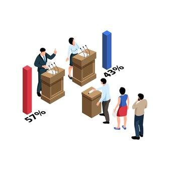 Composición isométrica electoral con personajes de candidatos y votantes.
