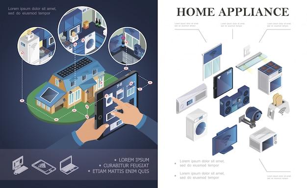 Composición isométrica de electrodomésticos con aire acondicionado centro de música persiana microondas tostadora tv lavadora tableta estufa sistema de video vigilancia composición inteligente para el hogar