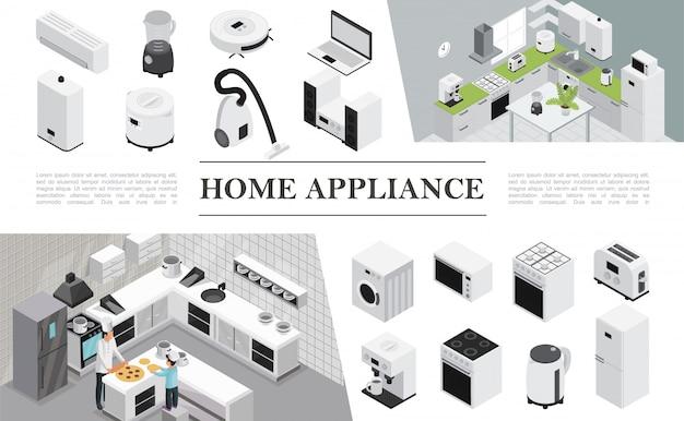 Composición isométrica de electrodomésticos con padre e hijo cocinando pizza en la cocina y diferentes electrodomésticos y dispositivos modernos