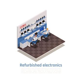 Composición isométrica electrónica restaurada con dos personajes masculinos que reparan computadoras y teléfonos inteligentes en el centro de garantía