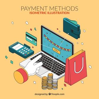 Composición isométrica con elementos de compras online