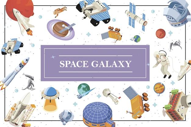 Composición isométrica de elementos espaciales con naves espaciales, satélites, cohetes, astronautas, extraterrestres, planetas ovni, estación cósmica y base lunar.