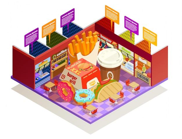 Composición isométrica de los elementos interiores del patio de comidas