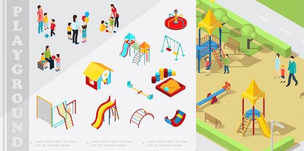 Composición isométrica de elementos de juegos infantiles con toboganes de playhouse, caja de arena, columpios, escaleras, balancín, padres jugando con niños