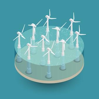 Composición isométrica de energía eólica verde