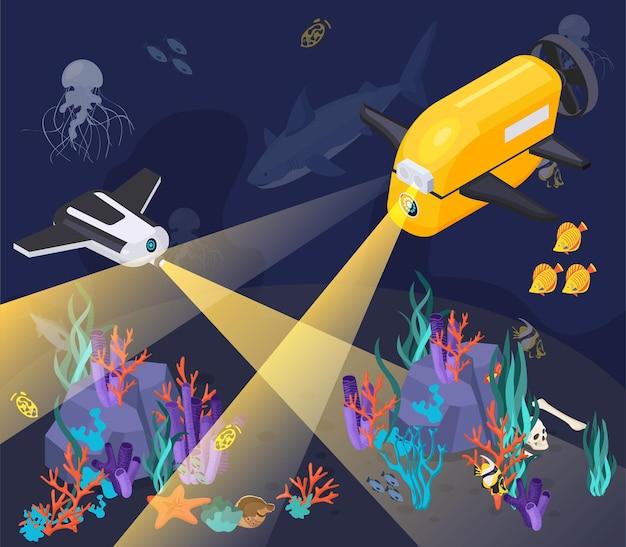 Composición isométrica del equipo de máquinas de vehículos submarinos con dos máquinas que se sumergen en un mar profundo