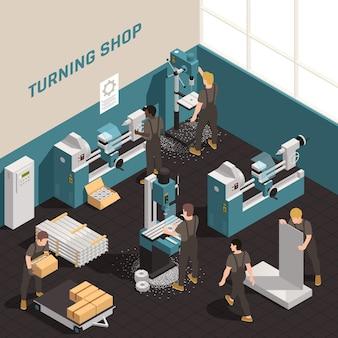 Composición isométrica del equipo de precisión de las instalaciones del taller de metalurgia con personas que trabajan en tornos de metal, máquinas de torneado, ilustración