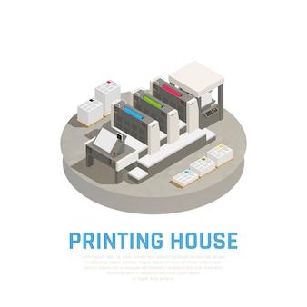 Composición isométrica de equipos de instalaciones de imprenta con prensas offset, preimpresión, corte, encuadernación, folletos, documentos redondos