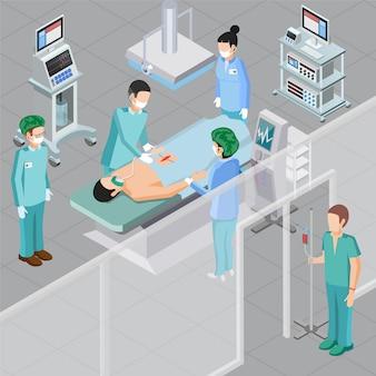 Composición isométrica de equipos médicos con caracteres humanos de médicos en quirófano con ilustración de vector de equipo de sala de operaciones