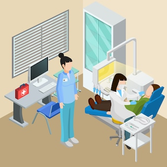Composición isométrica de equipos médicos con personajes humanos interiores de cirugía dental de médicos pacientes e instalaciones terapéuticas ilustración vectorial