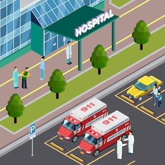 Composición isométrica de equipos médicos con vista al aire libre de la entrada del hospital y estacionamiento con ilustración de vector de coches de ambulancia