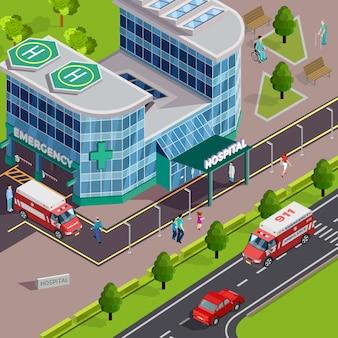 Composición isométrica de equipos médicos con vista exterior del moderno edificio del hospital con ambulancias y helipuertos