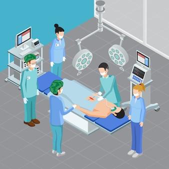 Composición isométrica de equipos médicos con vista de la sala de cirugía con aparatos y personas durante la ilustración de vector de ataque quirúrgico