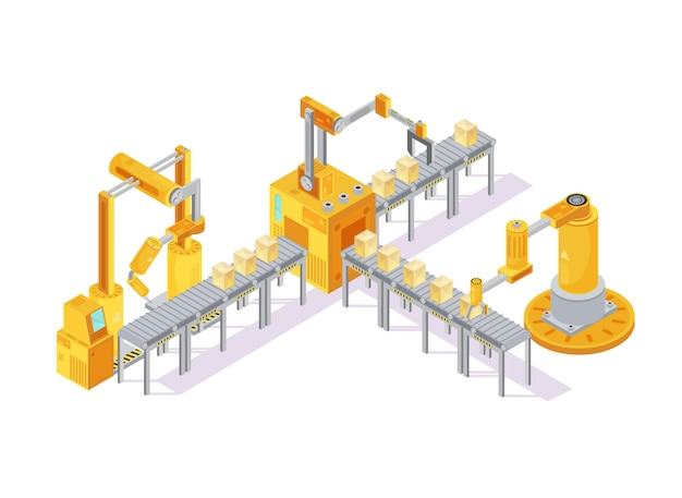 Composición isométrica de equipos de transporte con mano robótica para soldadura y cajas.
