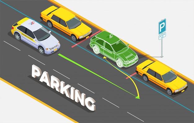 Composición isométrica de la escuela de manejo con texto y autos en estacionamiento con imagen fantasma e ilustración de flechas coloridas