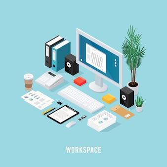 Composición isométrica del espacio de trabajo coloreado de la oficina