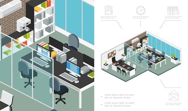 Composición isométrica del espacio de trabajo de la oficina con muebles, estantería para computadora, máquina de café, acondicionador, plantas, escritorio, sala de negociación, carpetas de archivos, reloj, documento, carta, iconos