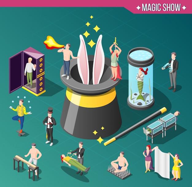 Composición isométrica del espectáculo de magia