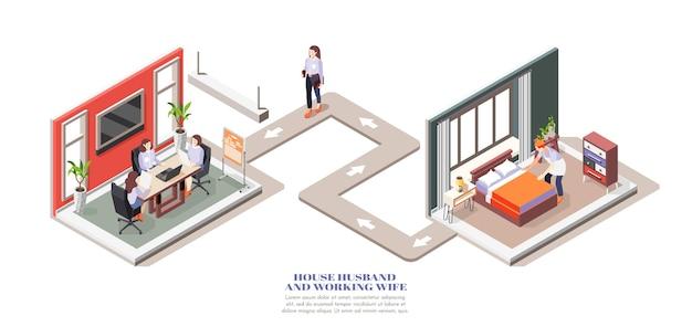 Composición isométrica con esposa trabajadora que va a la oficina y marido de la casa haciendo la cama