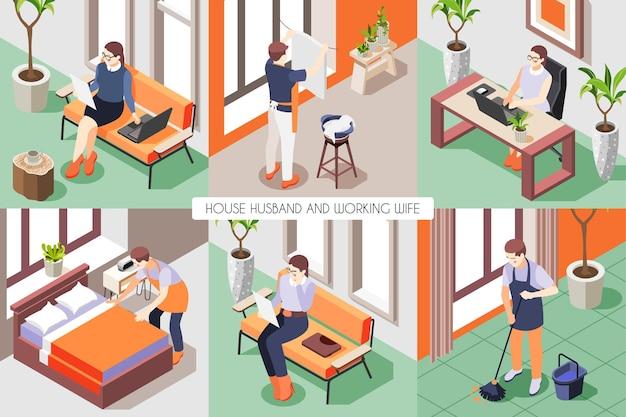 Composición isométrica con esposa trabajando en la computadora y marido de la casa lavando trapear el piso haciendo la cama 3d aislado