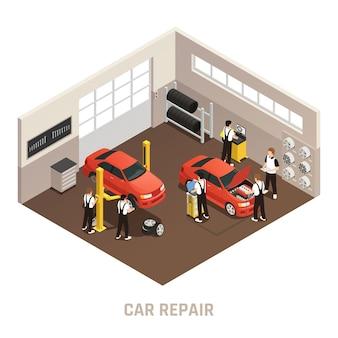 Composición isométrica de la estación de autoservicio de mantenimiento de reparación de automóviles