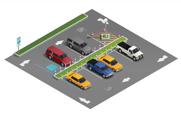 Composición isométrica de estacionamiento de transporte