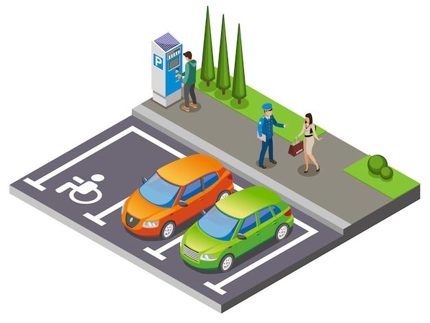 Composición isométrica de estacionamiento