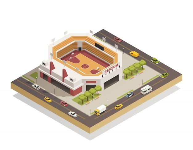 Composición isométrica del estadio de baloncesto arena