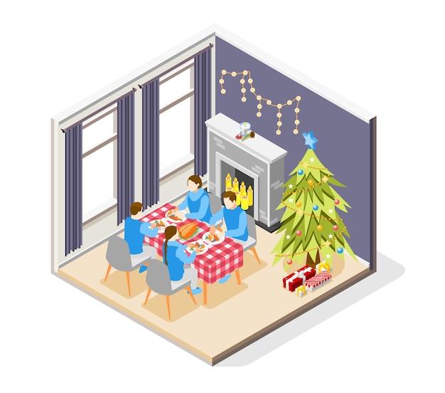Composición isométrica del estado de ánimo navideño