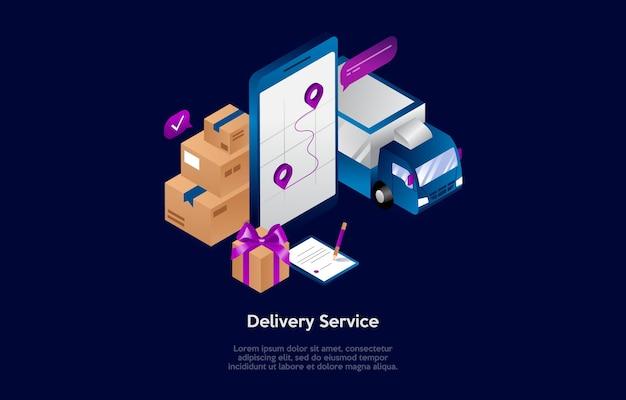 Composición isométrica en estilo de dibujos animados 3d del concepto de servicio de entrega