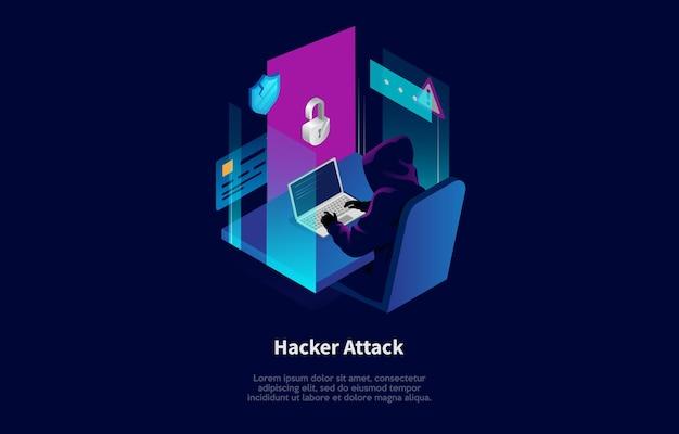 Composición isométrica en estilo de dibujos animados 3d del diseño de concepto de ataque de piratas informáticos