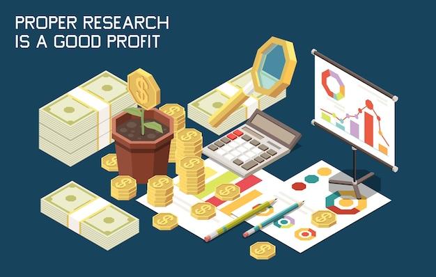 Composición isométrica de la estrategia de marketing con imágenes de escritorio de calculadora, montones de monedas y papeleo