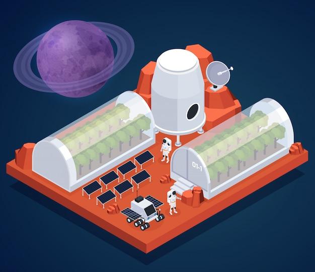 Composición isométrica de exploración espacial con imágenes del planeta en el espacio y edificios de invernadero de la ilustración de vector de base extraterrestre