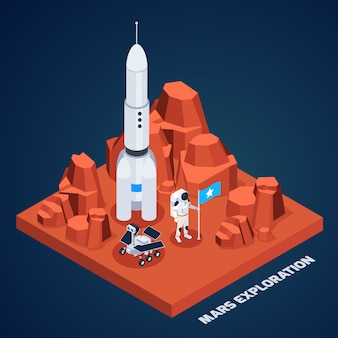 Composición isométrica de exploración espacial con trozo de terreno marciano con cohete astronauta y rover con ilustración de vector de texto