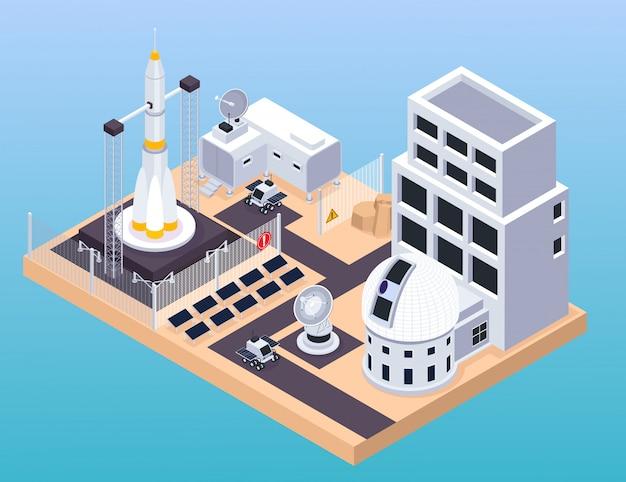 Composición isométrica de exploración espacial con vista del centro de entrenamiento con plataforma de lanzamiento de edificios y rovers móviles ilustración vectorial