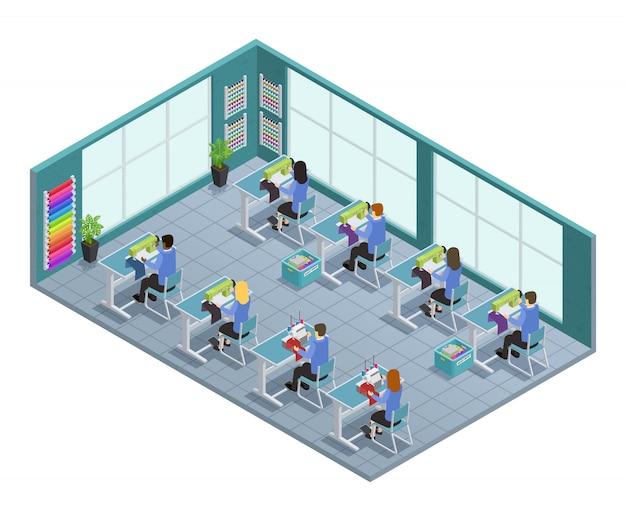 Composición isométrica de la fábrica de prendas de vestir en 3d con el taller de adaptación en la ilustración de vector de fábrica