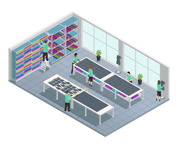 Composición isométrica de la fábrica de ropa con flujo de trabajo para la empresa de ropa en tienda en la fábrica vect
