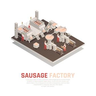 Composición isométrica de la fábrica de salchichas